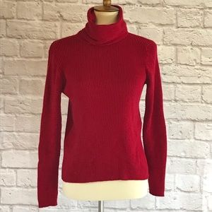 Eileen Fisher Red ribbed turtleneck sweate…